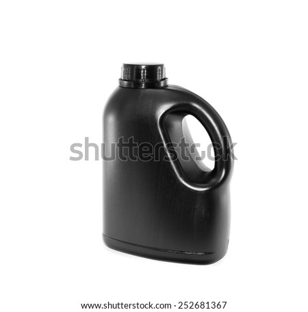 Black gallon with empty label on white background