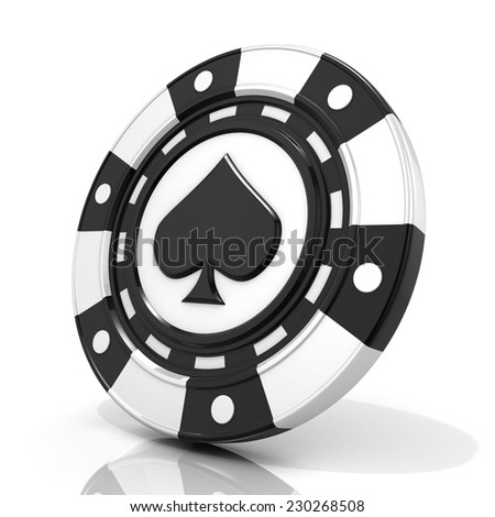 Black gambling chip with spade sign on it. 3D render isolated on white background - stock photo