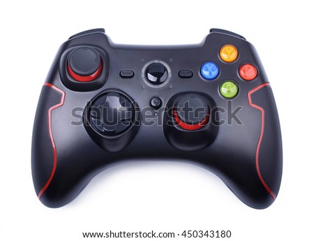 Black game controller isolated on a white background - stock photo