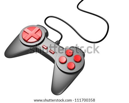 black game controller joystick on white background - stock photo