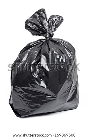 Black garbage bag, isolated on a white background. Full plastic rubbish bag filled with trash. - stock photo