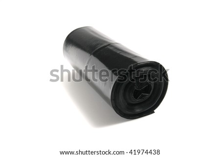 Black garbage bags on a roll