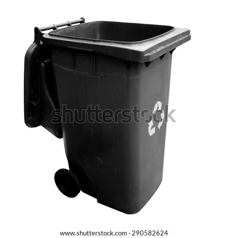 Black garbage plastic bins isolated on white background. This has clipping path. - stock photo