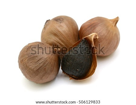 Black Garlic (Allium sativum) isolated on white background