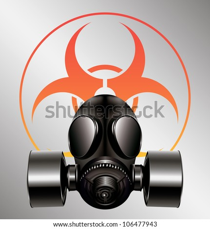 black gas mask with biohazard symbol