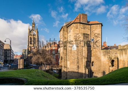 Black Gate and St Nicholas Cathedral / The Black Gate gatehouse of The Castle with the Cathedral Church of St Nicholas in the heart of Newcastle upon Tyne - stock photo