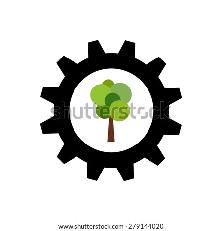 Black gear wheel with green tree as logo of timber industry - stock photo