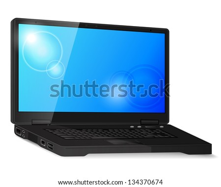 Black generic laptop with shadow and blank screen