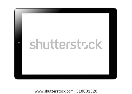Black generic tablet computer (tablet pc) on white background.  - stock photo