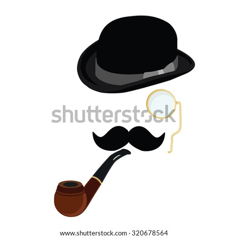 Black gentleman bowler hat, smoking pipe,mustache and  golden monocle raster set - stock photo