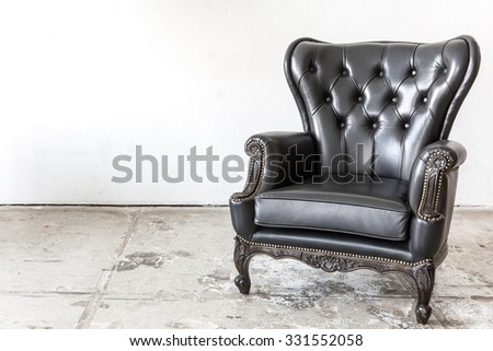 Black genuine leather classical style chair - stock photo