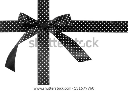 Black gift bow and ribbon on white background - stock photo