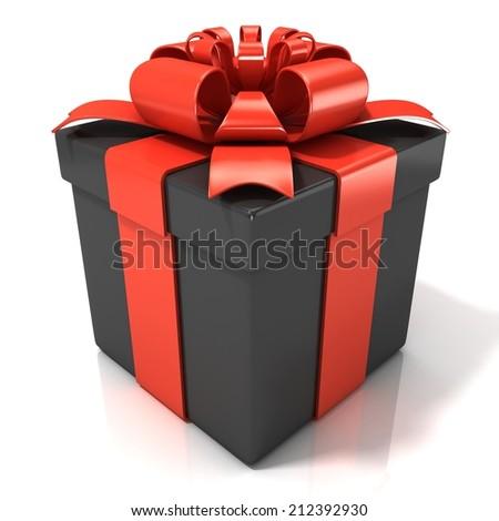 Black gift box isolated on white background - stock photo