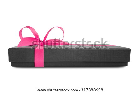 Black gift box (present) with pink satin ribbon bow, side view, isolated on white background