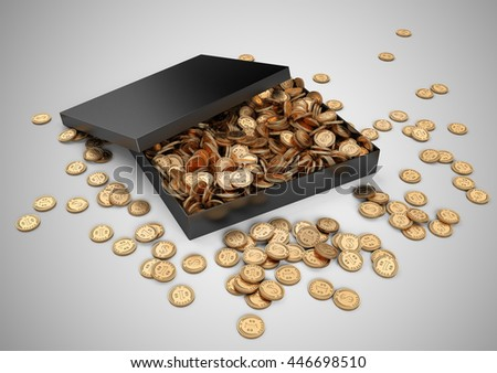 Black gift box with golden coins. Isolated on a white background 3d image.