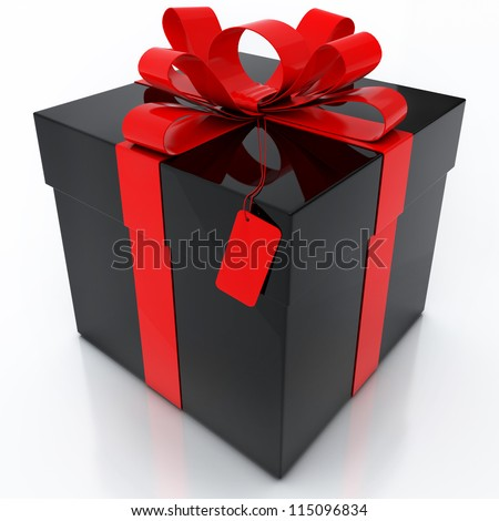 Black Gift Box with Red Ribbon on White Background - stock photo