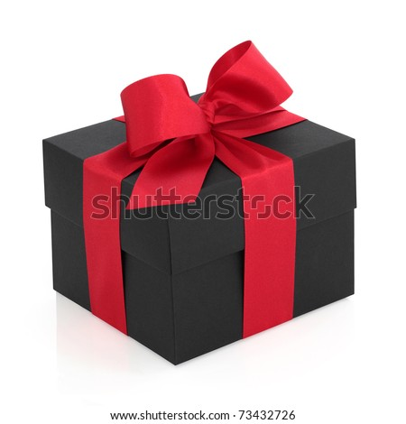 Black gift box with red satin ribbon and bow, over white background.