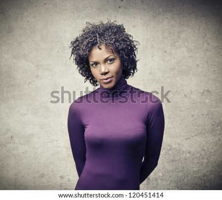 Black girl in purple - stock photo