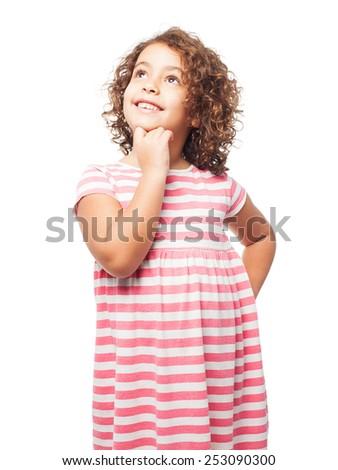 black girl thinking - stock photo