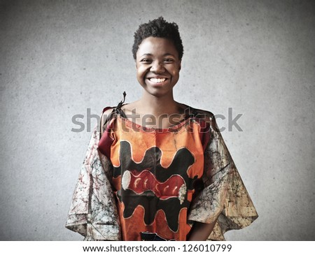 Black girl with a typical African dress
