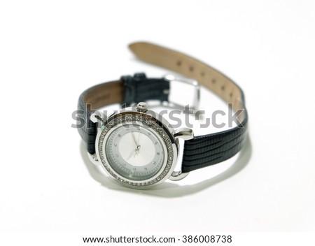 black girl wristwatch - stock photo