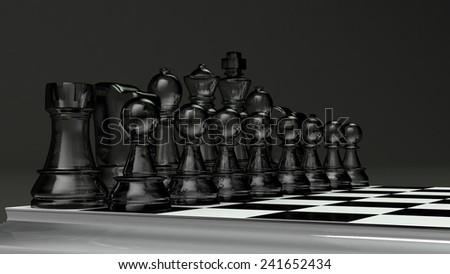 black glass chess set - stock photo