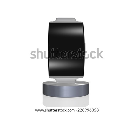 black glass curve interface smartwatch on showcase with metal watchband blank bent screen isolated on white background - stock photo