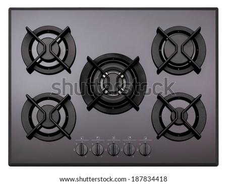 Black glass gas hob isolated on white - stock photo