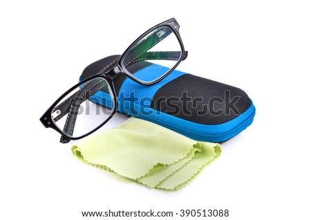 Black glasses box glasses and wipes isolated on white background.