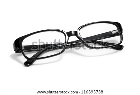 Black glasses on a white background - stock photo