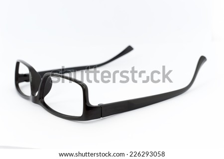 black glasses on a white background