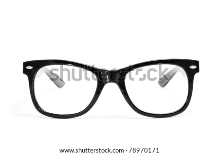 black glasses on a white background - stock photo