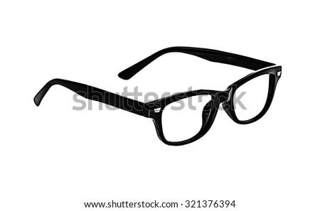 Black Glasses on white background, no glass. - stock photo