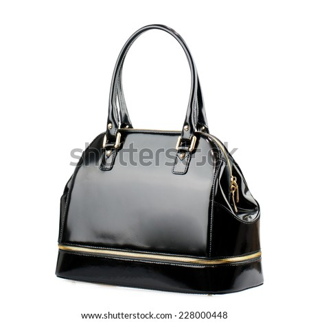 Black glossy female bag isolated on white background.  - stock photo