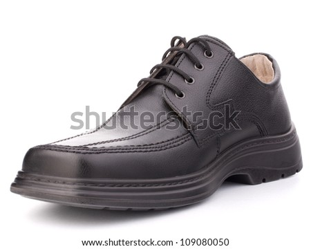 Black glossy man�s shoes] with shoelaces isolated on white background - stock photo