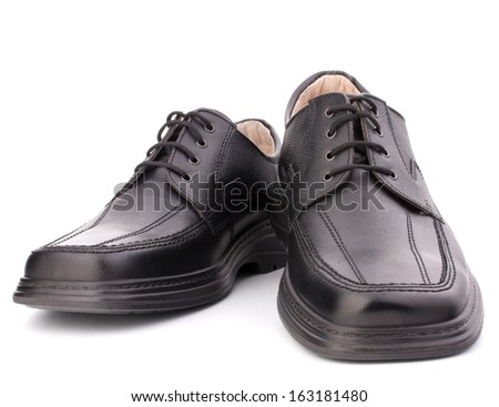 Black glossy man�¢??s shoes with shoelaces isolated on white background - stock photo