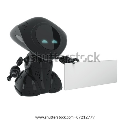 Black glossy robot with empty board