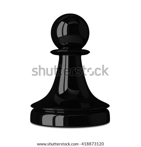Black glossy shiny chess pawn isolated on white background with small soft shadow. 3D illustration - stock photo