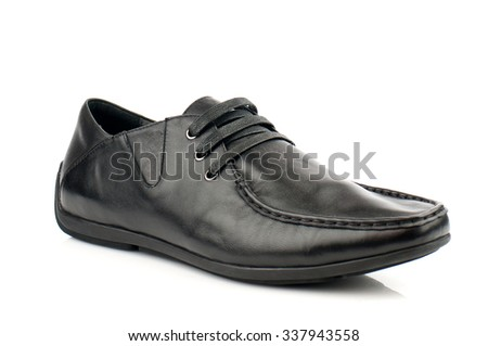 Black glossy shoe with shoelaces isolated on white.Top view.