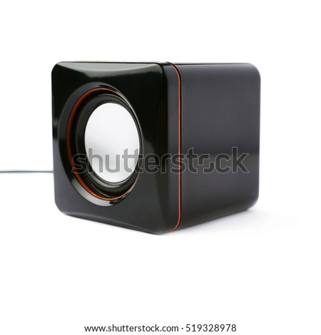 Black glossy sound speaker isolated over the white background