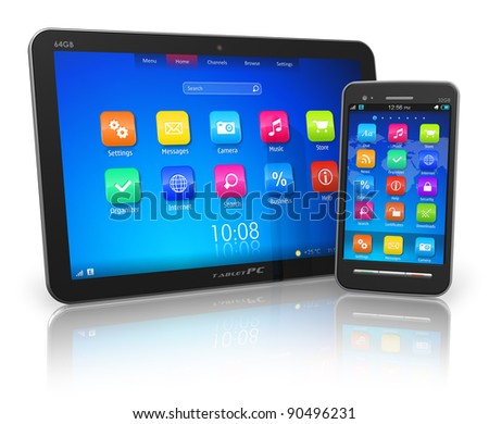 Black glossy tablet PC and touchscreen smartphone isolated on white reflective background - stock photo