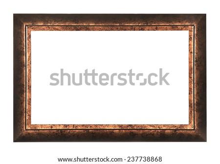 Black gold frame isolated on white background - stock photo