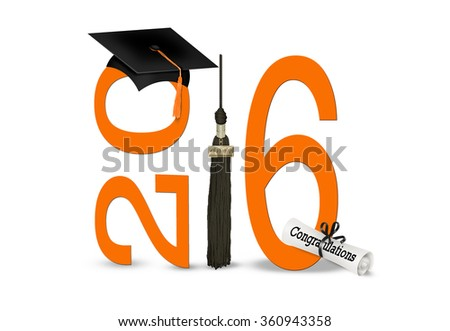 black graduation cap and tassel with orange numbers isolated on white for class of 2016