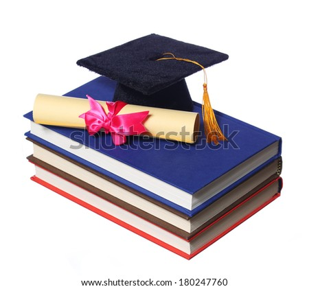 Black Graduation Cap with Degree on Books isolated on White Background - stock photo