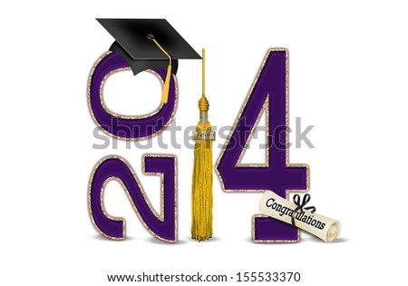 black graduation cap with gold tassel and purple 2014 with gold edge - stock photo