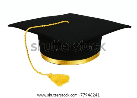 Black graduation cap with gold tassel isolated on white background - stock photo