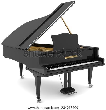 Black grand piano - stock photo
