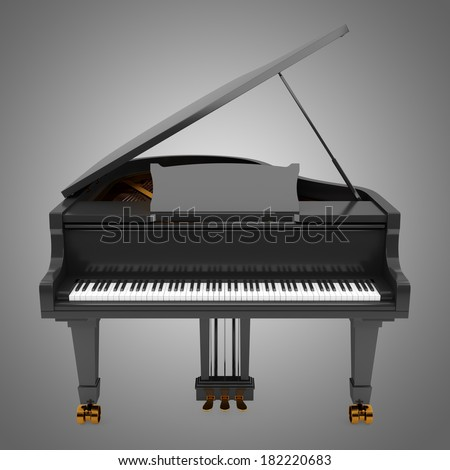 black grand piano isolated on gray background