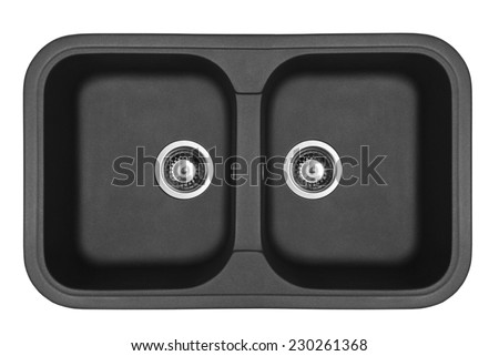 Black granite sinks for the kitchen, isolated on white background - stock photo