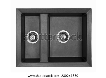 Black granite sinks for the kitchen, isolated on white background